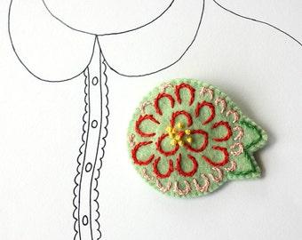 Zinnia Flower Brooch, Flower, Embroidered Flower Felt Pin, Flower Jewelry, One of a Kind, OOAK, Under 25