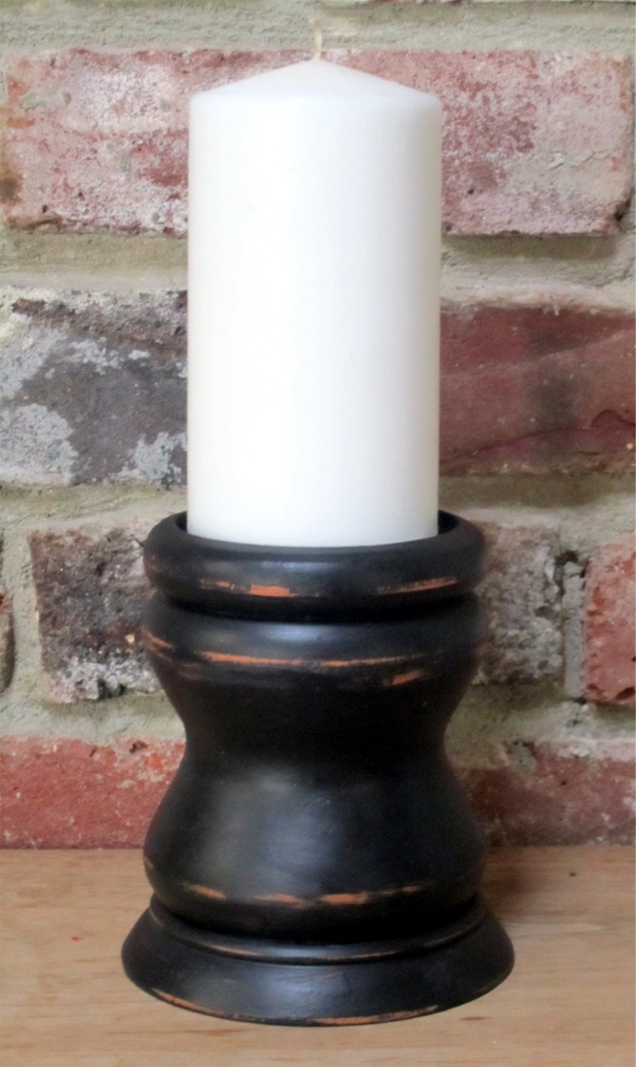 Distressed Black Wood Pillar Candle Holder Industrial Candle
