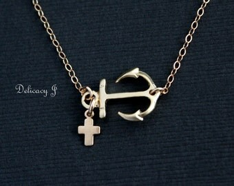 Gold Sideways Anchor with Cross Necklace, Gold Anchor Necklace Cross Charm, Everyday necklace Bridesmaid gift Christmas gift Navy Baptism