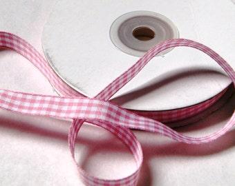 4 yards PINK Gingham Ribbon 3/8 inch, Trim, Mixed Media, Scrapbook Fun