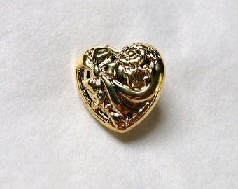 12  Gold Hearts , Shiny, Fancy Shank back buttons (S 16)