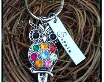 Personalized Hand Stamped Owl Keychain