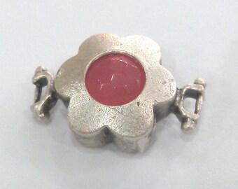 14 mm Pink  Connectors , Antique Silver Plated Brass Bezel  G1478