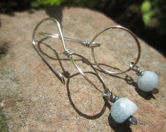 Simple Favorite - Sterling Silver Earrings with Aquamarine faceted beads.