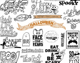 Halloween Word Art, Halloween Scrapbooking Title Quotes, Photoshop Brush & PNG clipart, Digital Stamps, Candy, Ghost, Black Cat