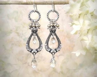 La Belle Époque, Silver Chandelier Earrings Vintage Style Clear Crystal Earrings Romantic Bohemian Pearl Earrings Edwardian Bridal Jewelry