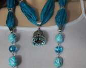 Turquoise Silk, Silk Necklace, Turquoise Necklace, Siver Plated Charm,