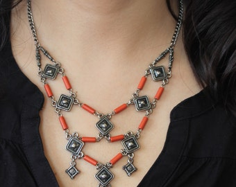 V Shaped Necklace, Red Tube Beaded Necklace, Otantic Necklace, FREE SHIPPING