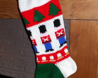 Nut Cracker Christmas Stocking Knitted with Lining Toy Soldiers