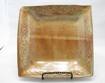 Textured serving tray or Salad Plate in Rust and Light Green Shino glaze