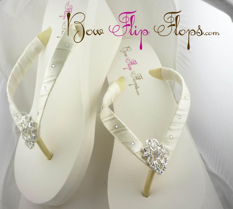 Bridal Wedge Flip Flops Ivory Lace Rhinestone by BridalFlipFlops