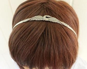 Steampunk Swan Headband- Metal Headband- Sterling Silver Ox Finish- Swan