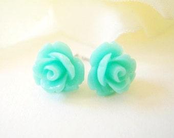 Light Aqua Rose Earrings- Surgical Steel or Titanium Posts- 10mmBlack Friday Sale 20% Off