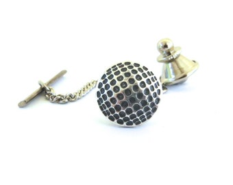 Golf Ball Tie Tack- Sterling Silver Ox Finish- Gifts For Men