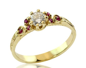 Diamond and Ruby 18k Gold Engagement Ring