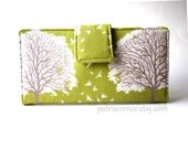 Handmade women green wallet - brown and white tree -  vegan clutch - Custom order - purse organizer - Beautiful tree