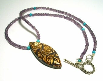 Boulder Opal Necklace Australian Koroit Yowah Necklace with Turquoise and Amethyst Beads Handmade by Lisajoy Sachs One of a Kind