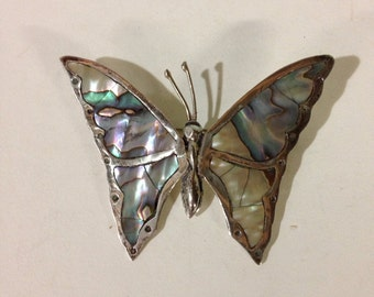 Vintage Mexico Sterling Silver and Abalone Butterfly Pin Brooch