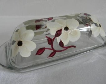 Butter dish-hand painted butter dish-painted ivory flowers-kitchen decor-covered butter dish, butter dish with lid