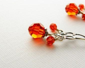Orange Crystal Chandelier Earrings  / Sterling Silver /  Autumn Fall