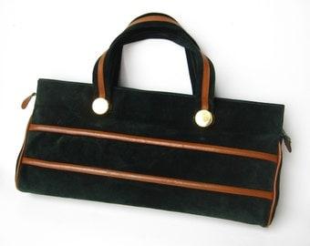 Vintage 70s Hunter Green Suede Italian Leather Hand Bag Purse Handbag