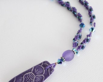 Purple and Aqua Spiral Rope Necklace