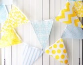 Bunting Banner, Fabric Pennant Flags, Neutral Baby Nursery Shower Banner, Wedding Garland, Birthday Party, Photo Prop, Yellow, Light Blue