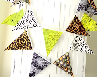 Halloween Party Bunting Banner, Fabric Pennant Flags, Spooky Bats, Spider Webs, Orange, Black, Lime Green, Photo prop, Halloween Party Decor