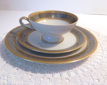 Vintage Bavarian China -Three Piece Dessert Set - Hertel-Jacobs Gold and Silver Grey China Set
