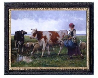 Cows And Sheep Miniature Dollhouse Art Picture 6705