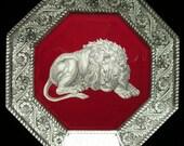 Maroon Lion Decoupage Plate