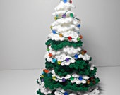 Crocheted Christmas Tree Decorated With Beads, Christmas Decoration, Hand Crocheted Christmas Tree, Christmas Centerpiece