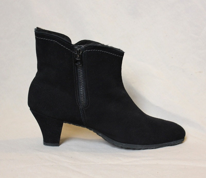 vintage boots winter black suede fleece lined golo boots