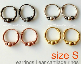 Sphere and coil cartilage hoop earring, men's hoop earrings, cartilage earring, helix hoop earring, tiny hoop earrings, 543a 544a 545a 546a
