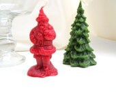 vintage candles.christmas decor.wax.holiday.old world santa.tree.red.green.Tessiemay