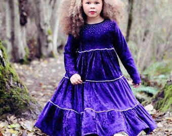 Hopscotch Girl PDF Pattern - Ellie Inspired Twirl Dress Pattern for Girls Size 1 - Size 12 and matching 15 and 18 inch doll