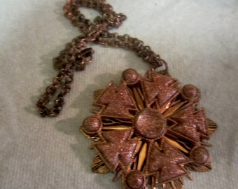 1940s Ornate Copper Necklace with Large Flower Pendant