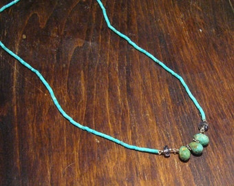 Faceted Iolite and Turquoise Beaded Necklace