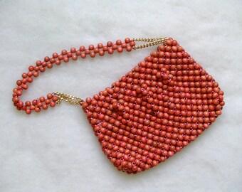 Walborg Handbag. BEADED HANDBAG. Walborg Purse. vintage Walborg. Wooden Bead Purse. 1950s Purse. 1950s Handbag. Salmon Pink. OurVintageWay.