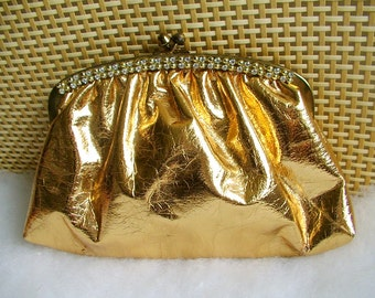 Gold Foil Rhinestone CLUTCH PURSE Holiday Evening HANDBAG vtg 1950s 1960s