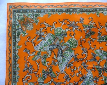PSYCHEDELIC Scarf PAISLEY BUTTERFLY orange / green Trippy Hippie Culture Ladies Scarf 22 x 22 inches vintage 1960s 1970s
