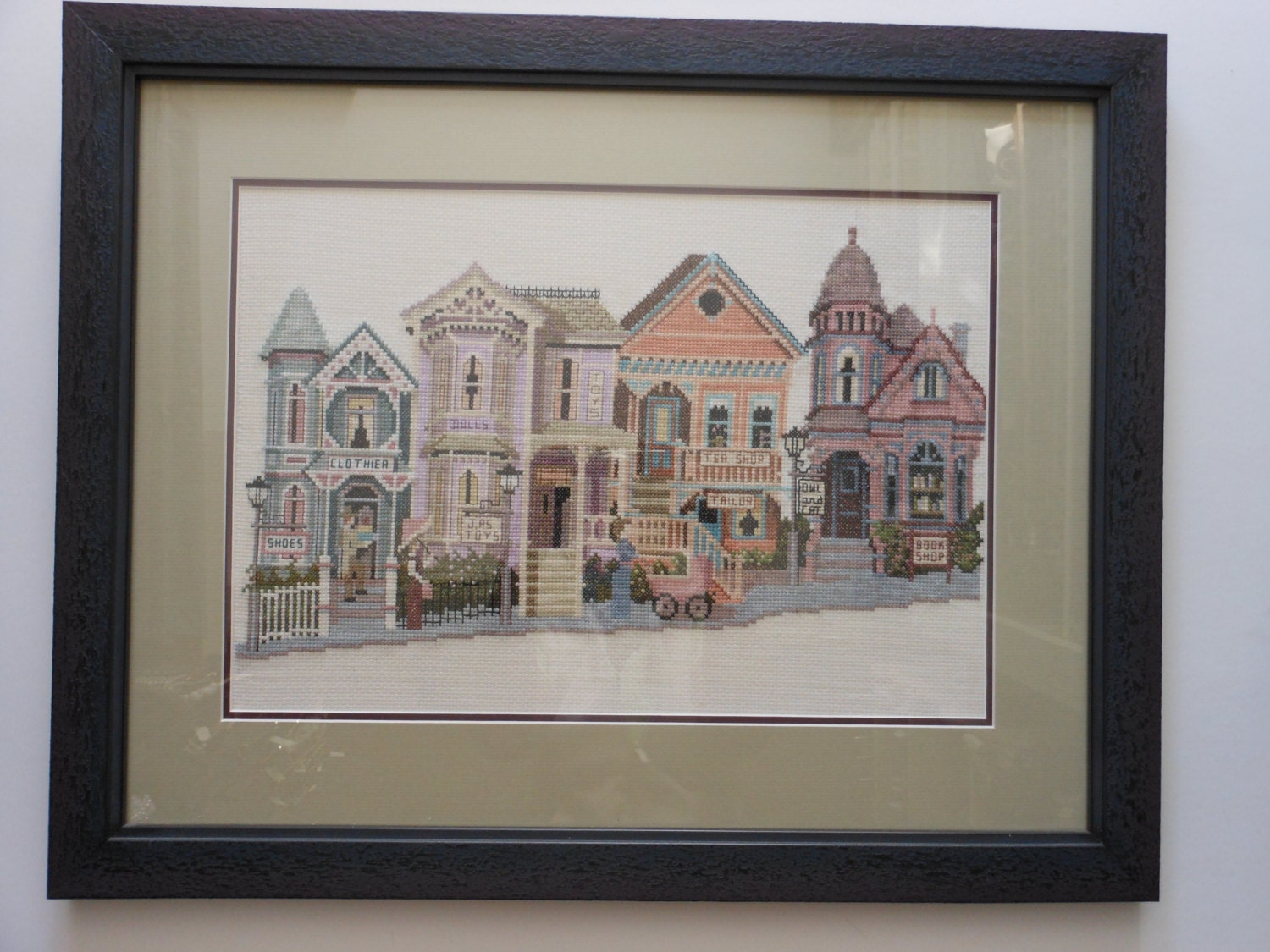 Vintage framed cross stitch victorian houses custom purple for Custom built victorian homes
