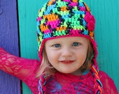 Neon Rainbow Girls Crochet Earflap Hat With Pink Trim and Flower - Choose your size