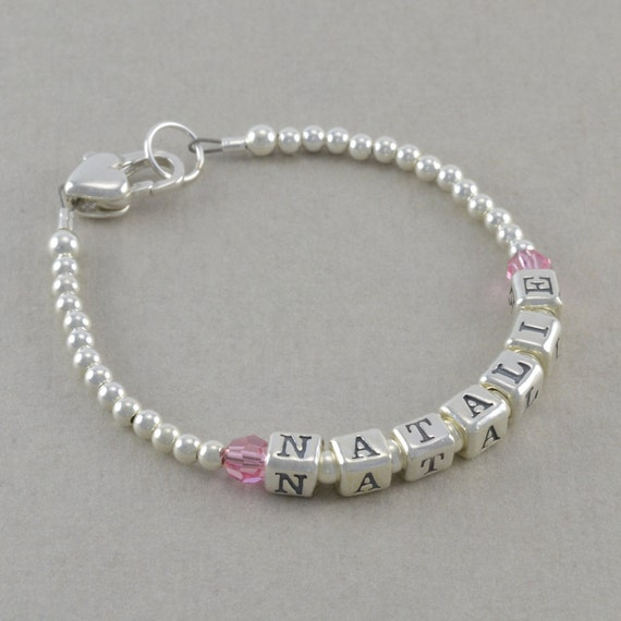 Name Bracelet Sterling Silver Newborn Girl By