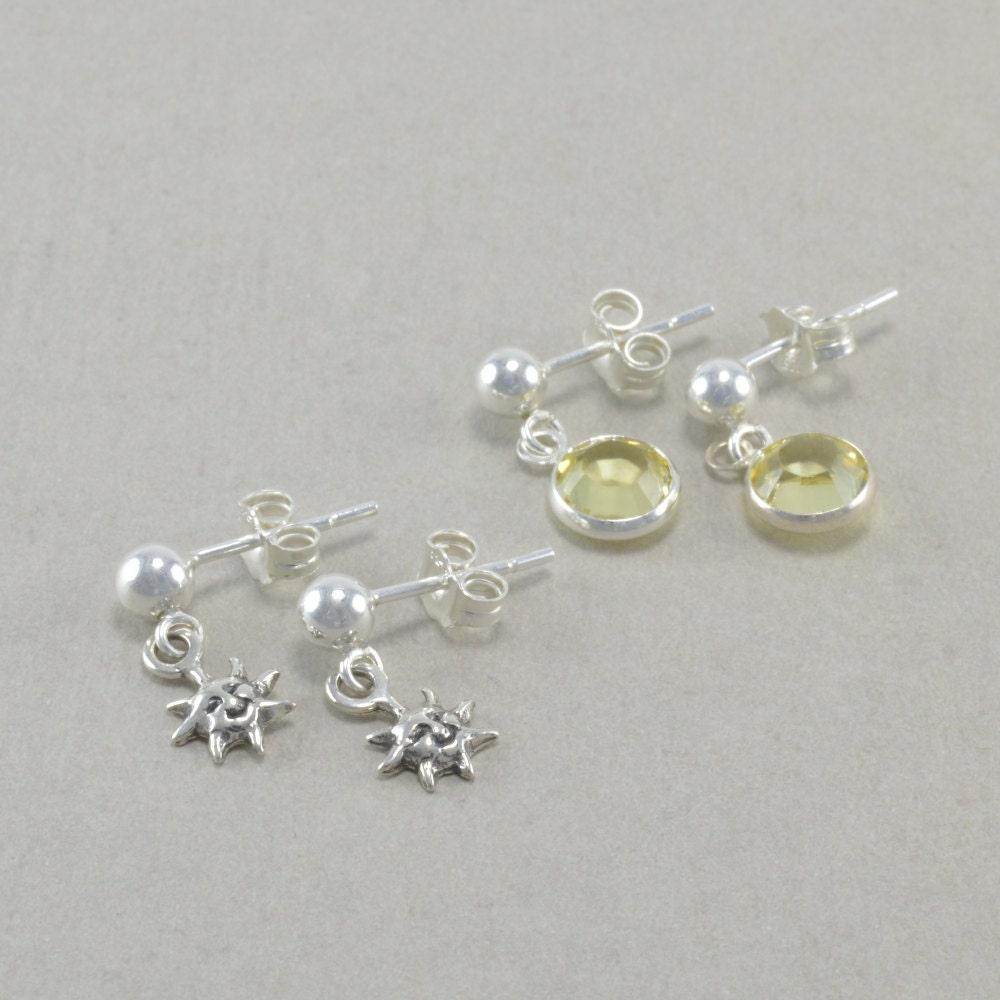 Little Girls Earrings Sterling Silver Sun By