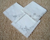 3 Vintage White Handkerchiefs Embroidery Cutwork Unused Hankies