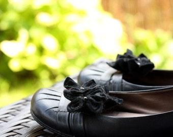 Black Romance, Felt Flower Shoe Clips