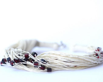 SALE!!!  Red Wine Linen Necklace