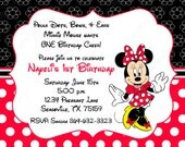 10 Black & Red  Minnie Mouse PRINTED Invitations with Envelopes.  Free Return Address Labels