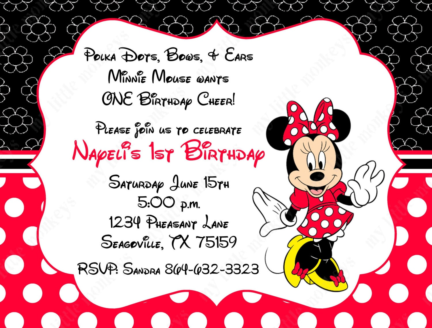 Minnie Mouse Invitations Etsy as beautiful invitations template